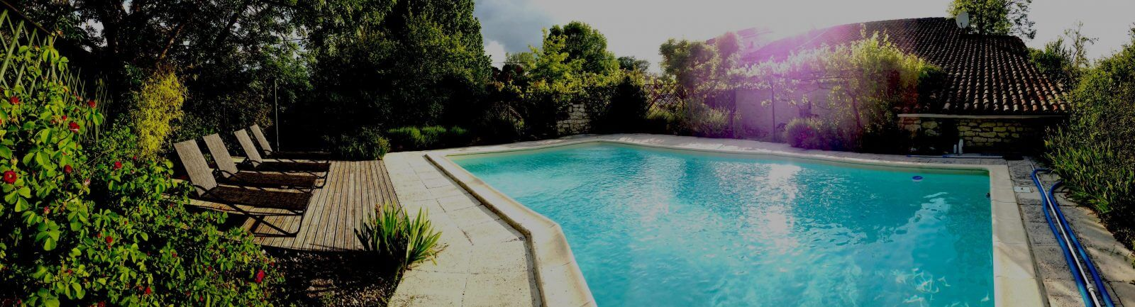 Secluded pool area at Bijou Barn